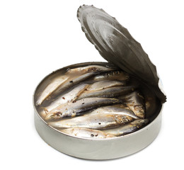 sprat in an iron pot on white background