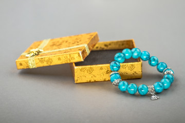 natural stone beads bracelet with box