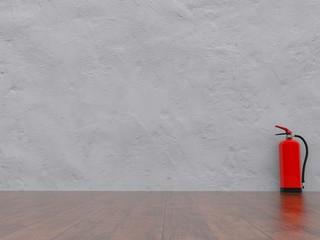 Feuerlöscher vor weisser Wand