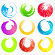 Vector set of grunge colorful circle brush strokes. Set 5