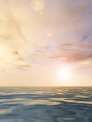 Sea water landscape with sunset sky