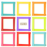 9 wooden picture frames color set