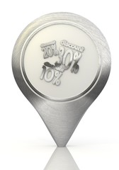 Illustration of a symbol discount sign on a chrome map marker