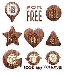 3d graphic of a best price free icon set of wooden 3d buttons