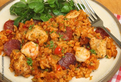 Jambalaya with Chicken and Shrimps