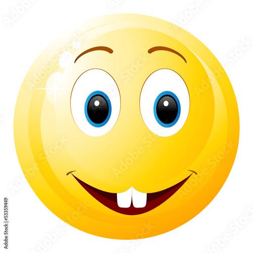 smiley - lächelnd mit 2 Zähnen