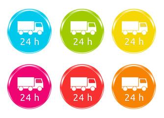 Iconos de colores para simbolizar Entrega en 24 horas