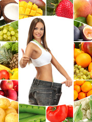 Beautiful young woman with big jeans among vegetables and