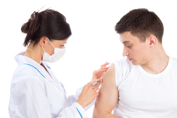 Doctor give flu vaccination or insulin injection