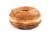 Croissant and doughnut mixture isolated on white