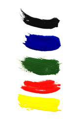 red, blue, green, yellow, black gouache on white background