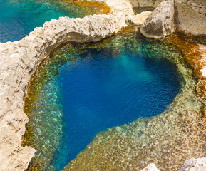 underwater cave in the form of heart