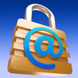 At Sign Padlock Shows Security Online Communication