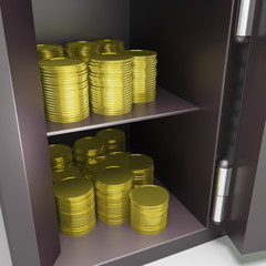 Open Safe With Coins Shows Safety Savings