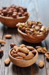 Almonds, walnuts and hazelnuts