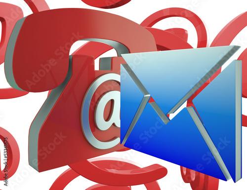 Phone Envelope Shows Telephone And Internet Communication
