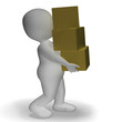 Delivery By 3d Character Showing Packages Postal