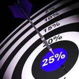 25 Percent On Dartboard Shows Bonus