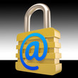 At Sign Padlock Shows Private Mail Secured
