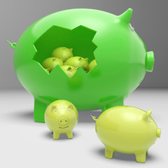 Piggybanks Inside Piggybank Shows Financial Break
