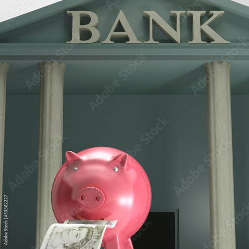 Piggybank On Bank Shows Secure Savings