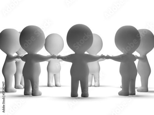 Gathering Of 3d Characters Showing Community Or Together