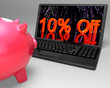 Ten Percent Off On Laptop Showing Reduced Prices