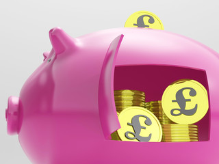 Pounds In Piggy Shows Currency And Investment