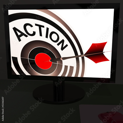 Action On Monitor Showing Acting