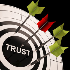 Trust On Dartboard Showing Reliability And Reliance