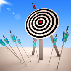 Arrow On Dartboard Showing Successful Shot