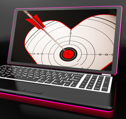 Target Heart On Laptop Shows Flirting