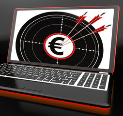 Euro Symbol On Laptop Shows Earnings