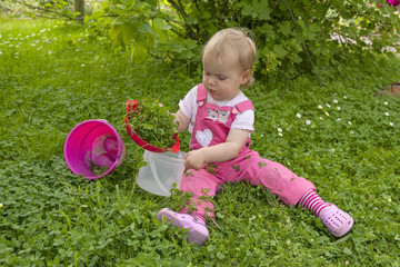 20 month old girl picking clover