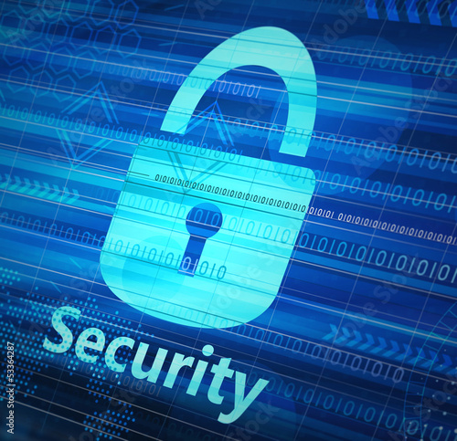 Concept of computer security lock icon on computer screen