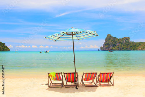 Beach Umbrella and chairs  Phi Phi Island
