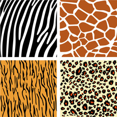 A collection of four different animal print backgrounds