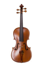 Classical shape wood violin instrument on white background