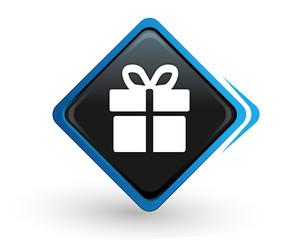 icône cadeau sur bouton carré bleu