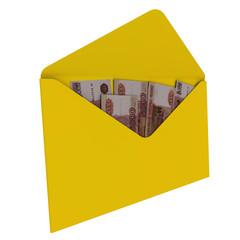 Желтый конверт с российскими рублями
