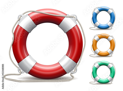 Set of life buoys on white background.