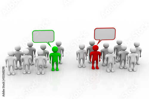 Social networking people with speech bubbles.