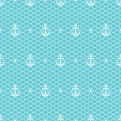 White anchors and dots on blue lacy mesh seamless pattern