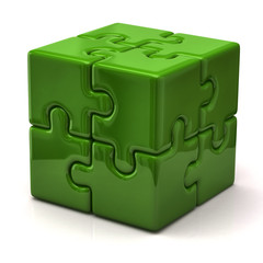 Green puzzle cube