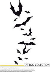 tattoo cartoon bats, in pencil drawing style.