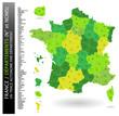 Carte de France - Départements + liste