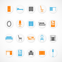 Furniture stickers icons