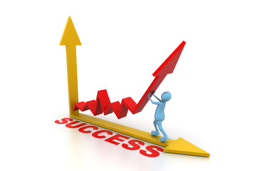 man pushing up the success graph