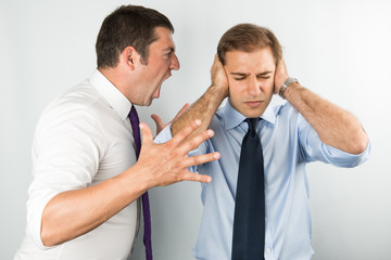 boss is screaming to collegue