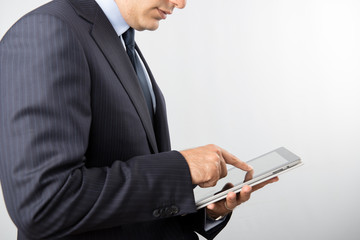 business man works with tablet
